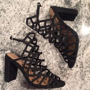 High Heels Black Caged Ankle Strap Block Chunky 6